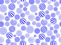 Abstract blue white round globe seamless pattern stock illustration