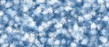 Abstract blue and white snowflakes pattern. Watercolor  paint stock image