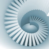 Abstract blue white spiral interior perspective with stairs. 3d illustration Royalty Free Stock Photos