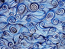 Abstract blue white spiral wave sea ocean watercolor painting. Hand drawn Stock Photography