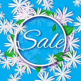 Abstract Blue White Spring Summer Sale colorful banner for business. Royalty Free Stock Image