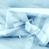 Abstract blue and white square background 3d. Abstract blue and white square background with chaotic cubic structures, 3d illustration, multi exposure effect Royalty Free Stock Images