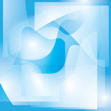 Abstract blue and white wavy background with shapes - vector Stock Image