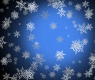 Abstract blue winter, Christmas, New Year background with snowfl Royalty Free Stock Images