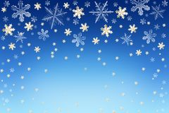 Winter Christmas New Year snow sky background with snowflakes and stars. Abstract blue Winter Christmas New Year snow sky background with white and golden Royalty Free Stock Images