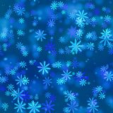 Abstract blue winter snowflake pattern. Seamless illustration. Stock Photography