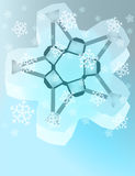 Abstract blue winter snowflake with snow vector Stock Images