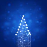 Abstract Blue Xmas Star Tree Stock Image