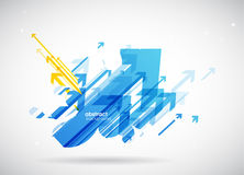 Abstract blue, yellow arrows background wallpaper. Royalty Free Stock Photos