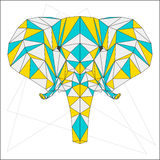 Abstract blue, yellow and grey blended colored polygonal triangle geometric elephant isolated on white background Stock Images