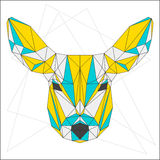 Abstract blue, yellow and grey blended polygonal triangle geometric deer isolated on white Stock Images