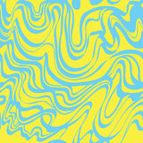 Abstract blue and yellow moire bubble gum vector pattern. Abstract wave. Stock Image