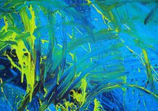 Abstract blue & yellow paint Stock Photo