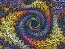 Abstract blue, yellow and pink textured spiral fractal. 3d render background for posters, website and flyer design. Computer vector illustration