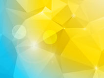 Abstract blue and yellow polygon mosaic background. Polygon background in blue and yellow with glows and lens flares Stock Image