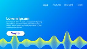 Abstract blue yellow spiral wave modern gradient blue background. Landing page, flyer, banner, card. Vector illustration royalty free illustration
