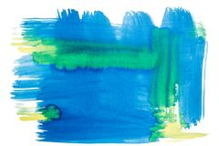 Abstract Watercolor Background. Abstract blue and yellow watercolor background Stock Photo