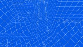Abstract blueprint of contemporary buildings and traffic cars stock footage