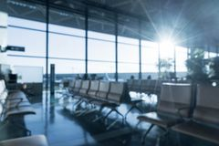 Abstract blur in airport. With sunflare - blue white balance processing style Stock Photography