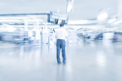 Abstract blur in airport. For background - blue white balance processing style Royalty Free Stock Photos