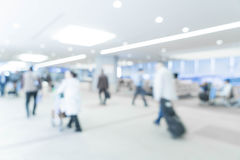 Abstract blur in airport. For background - blue white balance processing style Stock Images