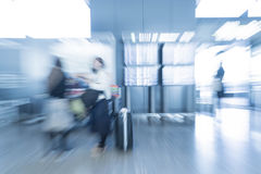 Abstract blur in airport. For background - blue white balance processing style Royalty Free Stock Photography