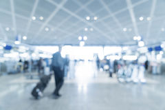 Abstract blur in airport. For background - blue white balance processing style Stock Photos