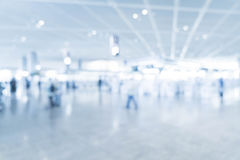 Abstract blur in airport. For background - blue white balance processing style Royalty Free Stock Images