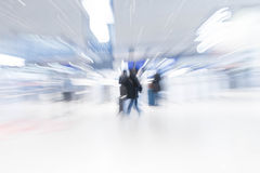 Abstract blur in airport. For background - blue white balance processing style Stock Photo