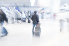 Abstract blur in airport. For background - blue white balance processing style Stock Image