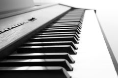 Abstract and blur background. Piano keyboard. Black and white th Stock Photos