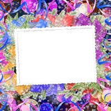 Abstract blur boke background with paper frame. And bunch of twigs Christmas trees Royalty Free Stock Image