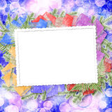 Abstract blur boke background with paper frame. And bunch of twigs Christmas trees stock illustration