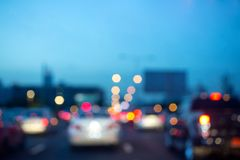 Abstract blur bokeh background. Night light of traffic jam many stock photography