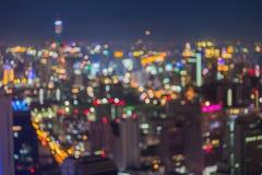 Abstract blur bokeh of Bangkok city night Stock Image