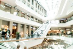 Abstract blur with bokeh and defocused shopping mall in deparment store. For background stock image