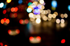 Abstract blur bokeh of Evening traffic jam on road. In city Royalty Free Stock Photo