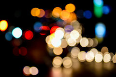 Abstract blur bokeh of Evening traffic jam on road. In city Stock Images