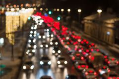 Evening traffic. The city lights. Motion blur. Stock Photography