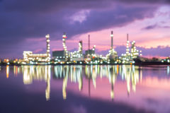 Abstract blur Bokeh of oil refinery, sunrise Royalty Free Stock Image