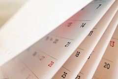 Abstract blur calendar page flipping sheet. Close up background stock images