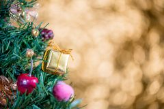 Abstract blur Christmas Tree bokeh background stock photo