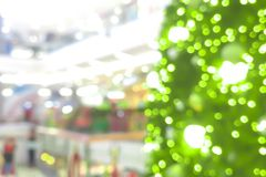 Abstract blur of Christmas tree in shopping mall for background.  Stock Photography