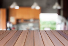 Abstract blur coffee shop background with empty table top Royalty Free Stock Images