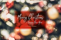 Abstract blur decoration ball and light string on christmas tree with bokeh light background.winter holiday seasonal royalty free stock photos