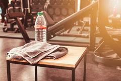 Abstract blur fitness gym background. The abstract blur fitness gym background at sunny day with drink water royalty free stock images