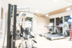 Abstract blur fitness and gym interior with sport equipment Stock Images