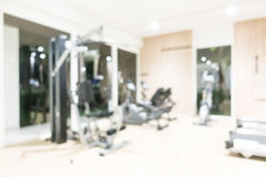 Abstract blur fitness and gym interior with sport equipment Stock Photos