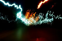 Abstract Blur Glowing Light Trail in Blue and Yellow Royalty Free Stock Images
