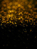 Abstract blur gold  bokeh lighting from glitter texture Stock Photos